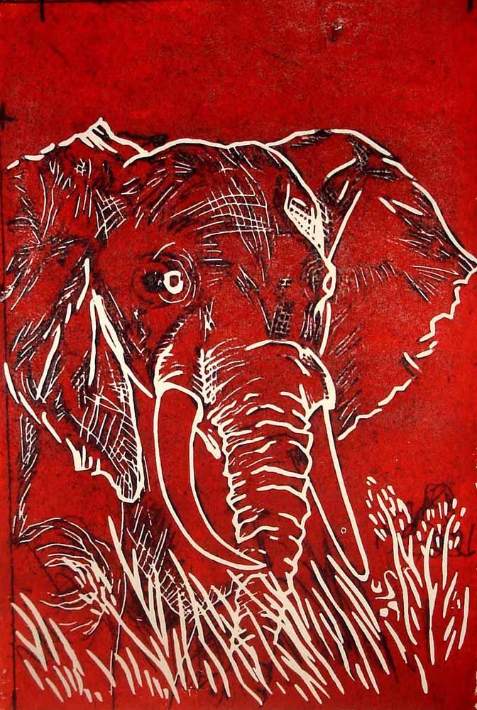 Elefant_Linoldruck_21x30 cm