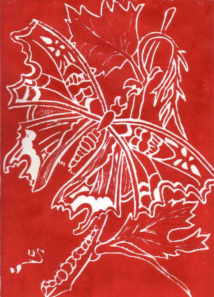 Schmetterling_Linoldruck_21x30 cm