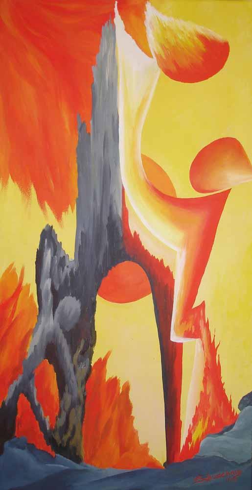 Erfülltes Leben_2011_Gipfelsürmer_Acryl_40x80